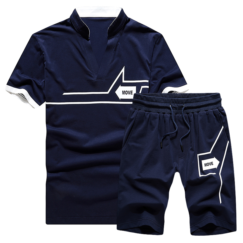 BROWON Brand Mens Tracksuit Short T-shirt + Shorts Cotton Print Drawstring Casual Sport Sets Men Clothes 2019