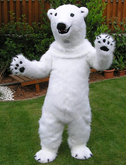 realistic furry white polar bear mascot costume for adults