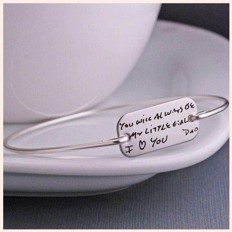 XiaoJing 100% 925 Sterling Silver Engraved letter Bracelet For  Men
