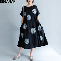 DIMANAF Women Summer Dress Big Size Cotton Linen Casual Soft Style Black Polka Dot Oversized Loose