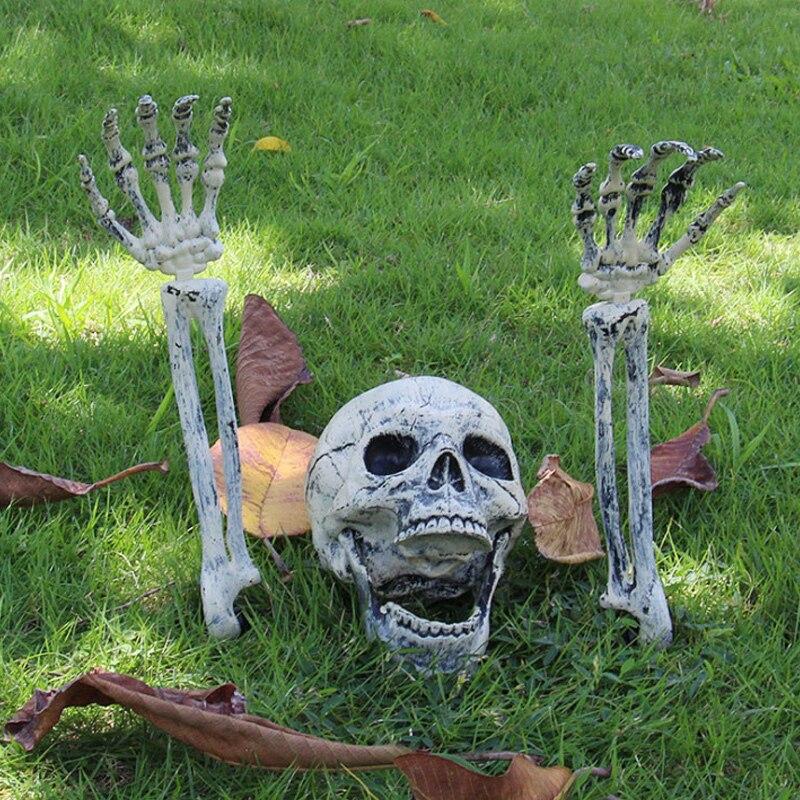 2019 esqueleto natal prop 100% plástico realista ossos humanos crânio estatueta para horror halloween festa decoração