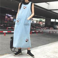 Embroidery Cartoon Cock Long Denim Dresses Women Loose Preppy Style Sleeveless Mid Calf O Neck Spaghetti