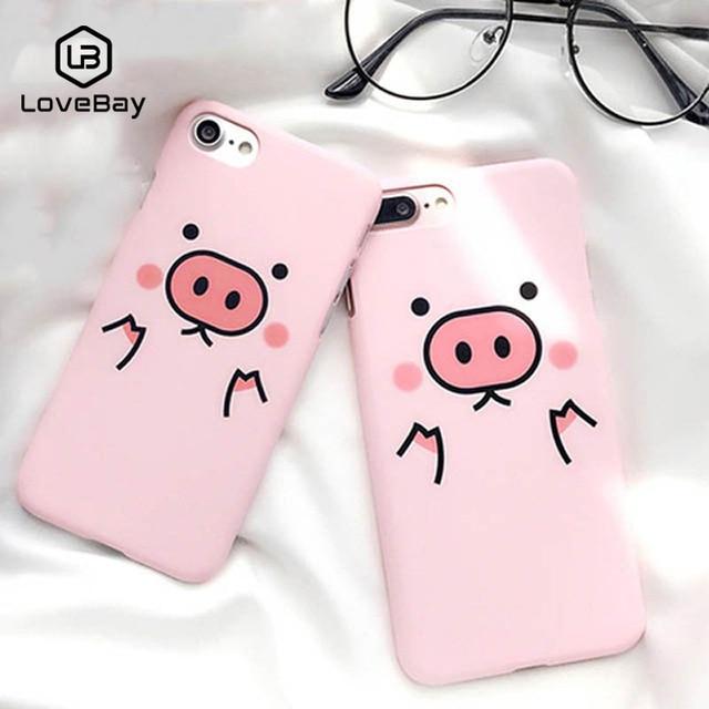 Caixa Do Telefone Para o iphone X 8 Lovebay 7 6 6 s Plus 5 5S SE Porcos Bonitos Dos Desenhos Animados Rosa Ultra fina Rígido PC 8 Simples Casos de Capa Para iPhone