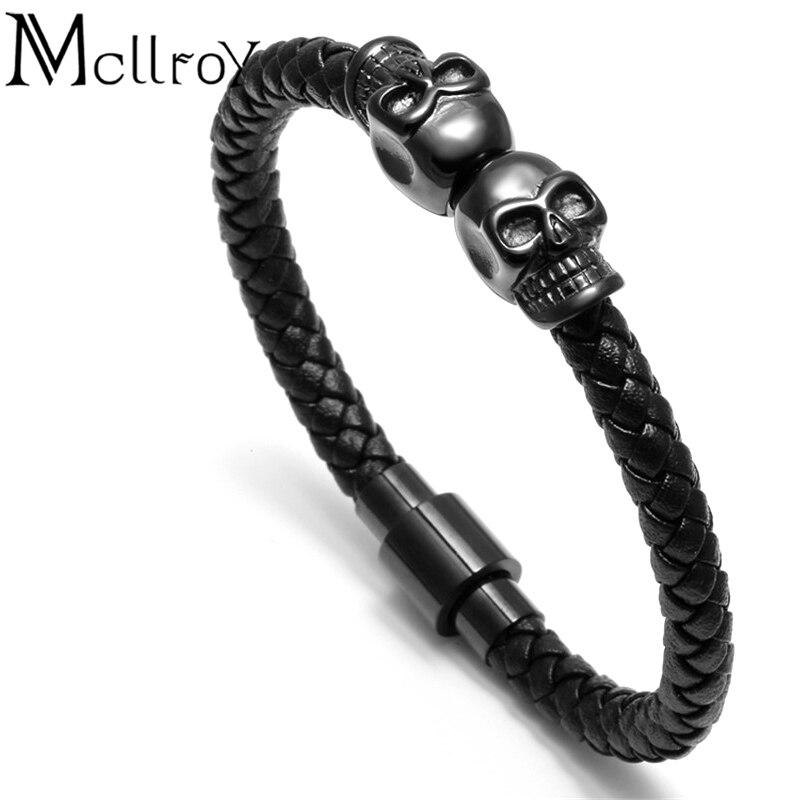 skull bracelet men/Genuine leather/Skeleton/Skull/bracelet homme Black Magnet skull bracelets men jewelry pulseras hombre