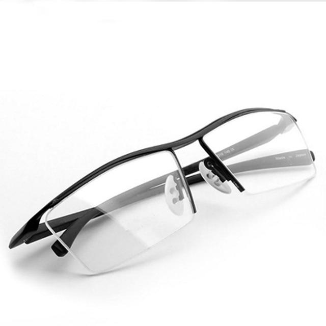 Armação de óculos masculina, armação de titânio, meia armação ótica, vintage, 2017