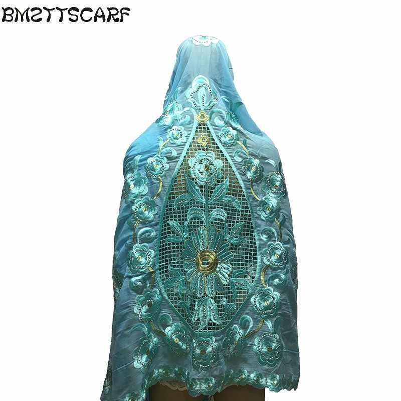 Baru Wanita Afrika Embroderiy Syal Bunga Besar Embdoeriy Di Belakang Desain Terbaru Besar Kapas Syal untuk Selendang Membungkus BM568