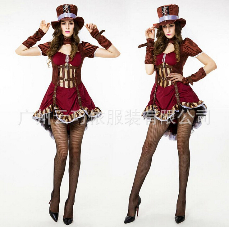 2016 new adult womens sexy halloween party circus clown costumes outfit fancy steam punk girl cosplay - Halloween Punk Costume