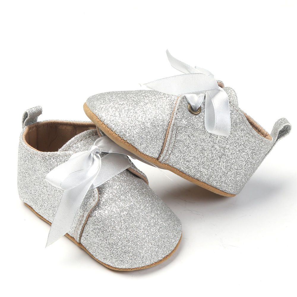 2017 Cute Newborn Baby Causal Shoes Solid Kids Baby Unisex Soft Glitter Shoes Infant Boy Girl Sequin Toddler Baby Bandage Shoes