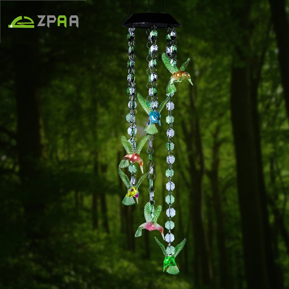 Zpaa Solar Panel Changing Color Hummingbird Wind Chime