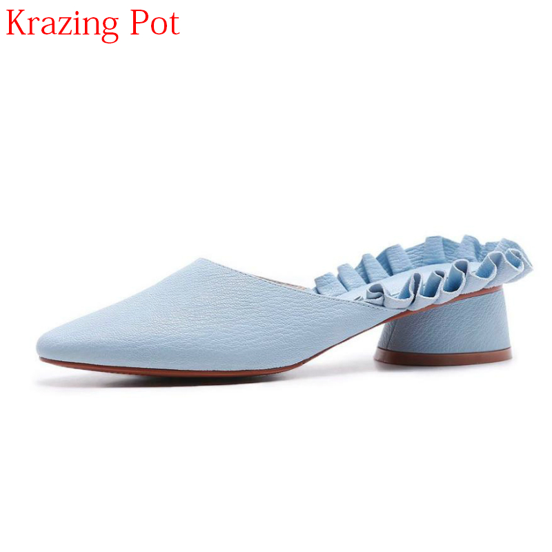 2018 Superstar Genuine Leather Slingbacks Summer Shoes Mules Pleated Women Pumps Pointed Toe Med Heels Slip on Women Pumps L53 2018 new pleated genuine leather women