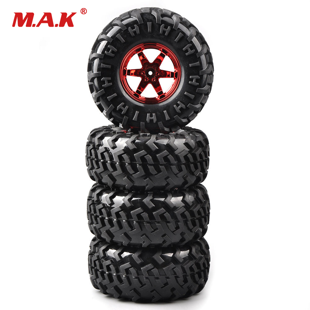 4Pcs/Set Rubber 1:10 Bigfoot Truck Tires&Wheel Bigfoot Monster 130mm RC 01R For Climbing Crawler Car Accessory 4pcs 1 9 rubber tires