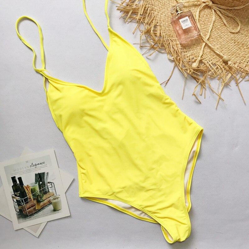 2019 Sexy solide une pièce maillot de bain maillot de bain bandeau femmes Monokini body haute coupe brésilien Vintage maillot de bain plage porter