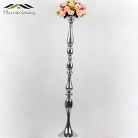 Candle Holders Flowers Vase 100cm/40'' Stand Silver Candlestick Road Lead Candelabra Centre Pieces Wedding Decoration 10PCS/LOT
