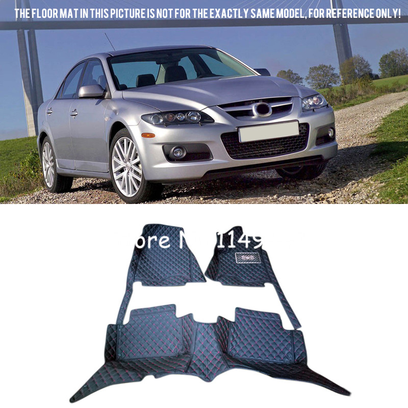 For Mazda 6 2003 2004 2005 2006 2007 Car styling Interior Front & Rear Auto Custom Car Floor Mats Full Set Carpets Rug car styling top mount hardtop rear grab handle bar front rear interior parts metal for jeep wrangler 2007 later