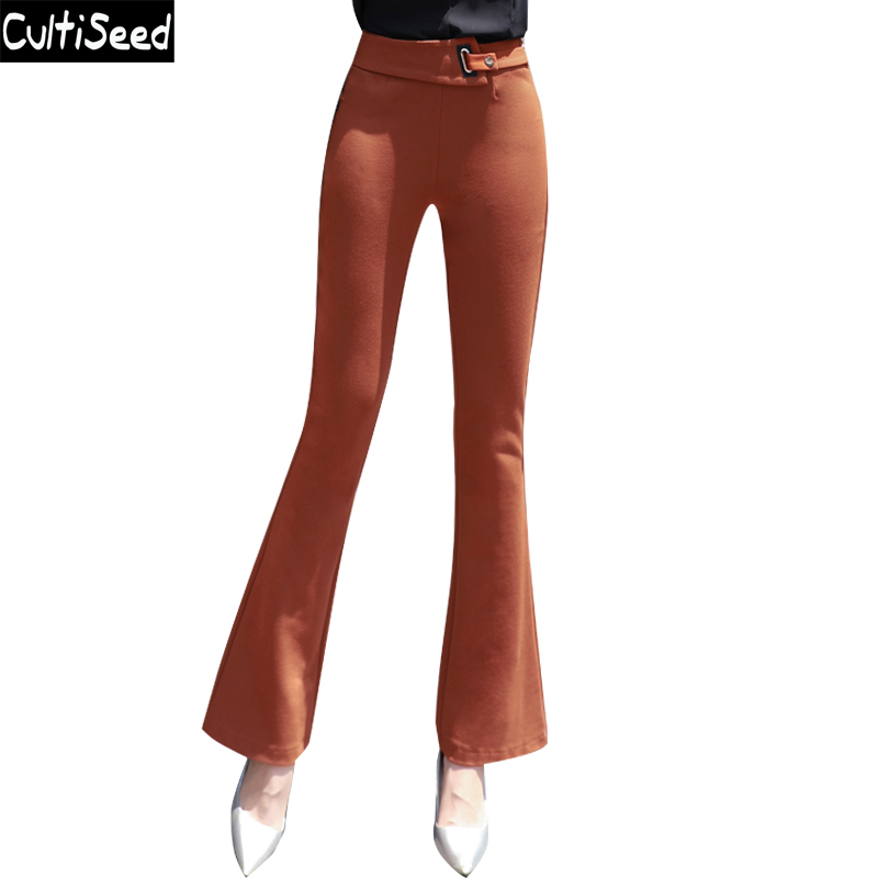 Vintage Flare Pants 2018 Autumn Female High Waist Elegant Office Work Slim Long Flare Pants with Metal Button Women Trousers