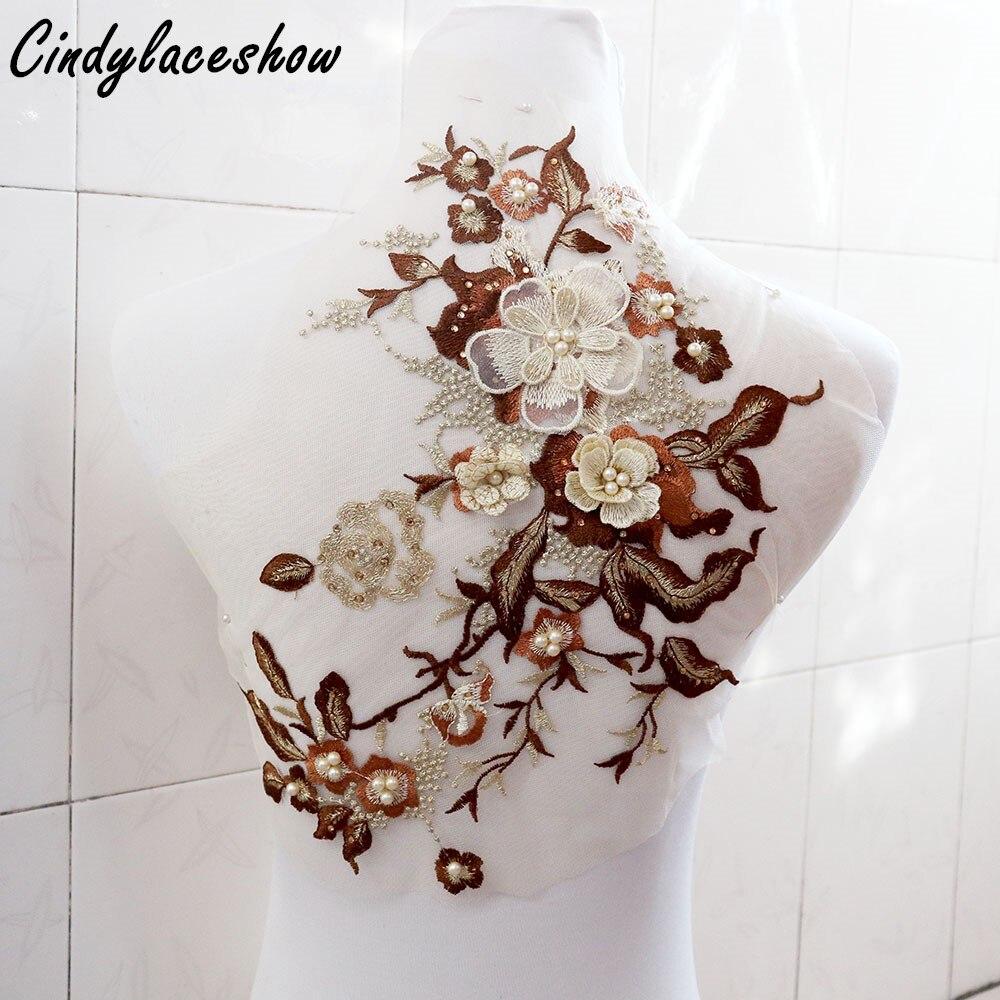 Gold Brown Heavy 3D Floral Beaded Lace Applique Rhinestones Lace Trim  Bridal Lace Applique Motifs Costume Sewing Accessories DIY 76c2eb3cc8aa