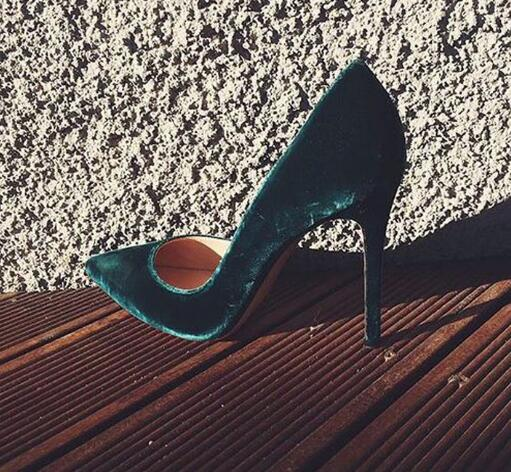 2017 newest sexy high heel shoes pointed toe woman pumps vintage velvet stiletto heels green black wine red deep blue стоимость