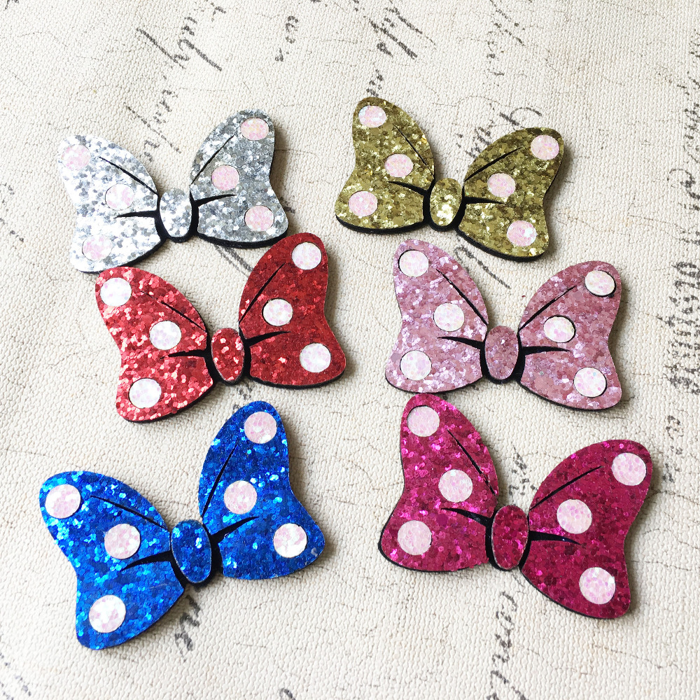 Wool felt ornaments - Free Shipping 18pcs Glitter Polka Dots Ribbon Bow Patch Sticker Girls Hair Jewelry Decoration Flatback Bling Diy Ornament Decor