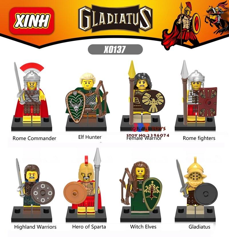 8pcs Gladiatus Medieval Knights Rome Commander Elf Hunter Highland Warrior building blocks model brick toy for children juguetes