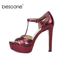 BESCONE New Sexy 13 cm Super High Heel Ladies Sandals Casual Buckle Thin Shoes Basic Cover Outside Women BY27