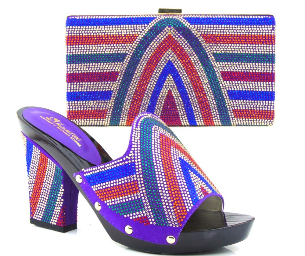 ФОТО High quality African party shoe and bag set in purple with shining stones and rose design!HVZ1-26