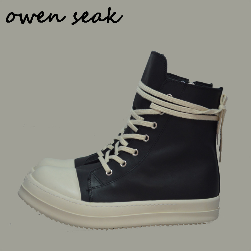 Owen Seak Men Shoes High TOP Ankle Boots Genuine Leather Adult Sneaker Luxury Trainers Casual Lace