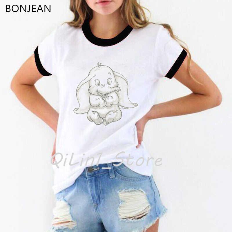 2019 Grappige T-shirt Vrouwen Dumbo De Sdorable Olifant Schets Print T-shirt Tumblr Tops Tee Shirt Femme Zomer Tshirt Streetwear