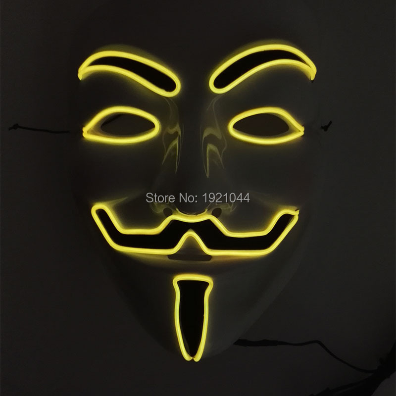 High quality lighting color Yellow EL Wire Glowing V for VENDETTA Halloween Party Mask+Sound activated Inverter