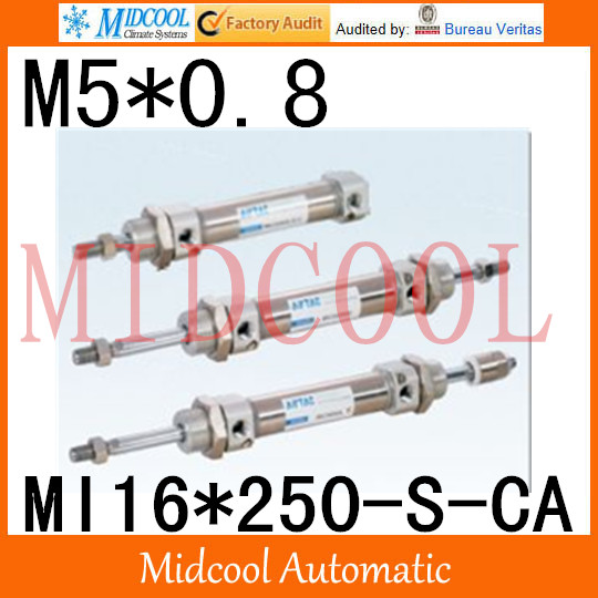 MI Series ISO6432 Stainless Steel Mini Cylinder MI16*250-S-CA bore 16mm port M5*0.8 mi series iso6432 stainless steel mini cylinder mi10 200 s ca bore 10mm port m5 0 8