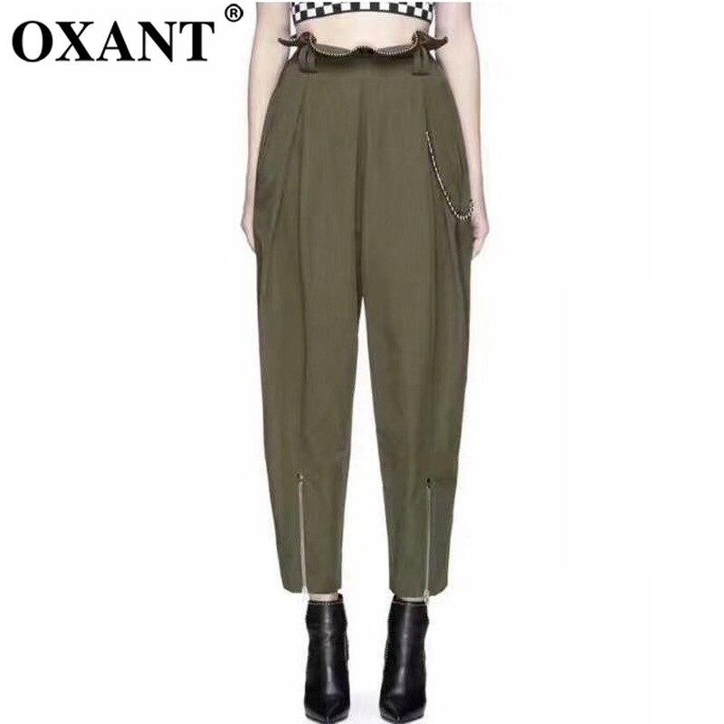 OXANT бисер большой размер шаровары для женщин молния армейский зеленый длина лодыжки брюки женские брюки с высокой талией повседневные