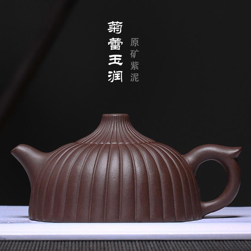 set product wholesale custom ore purple teapot rain medium sand clay bar lines, chrysanthemum buds jade embellish pot