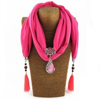 New Arrival Charms Scarf Water Drop Resin Pendant Jewelry Scarves Necklace Scarf Long Tassel Scarves Necklace