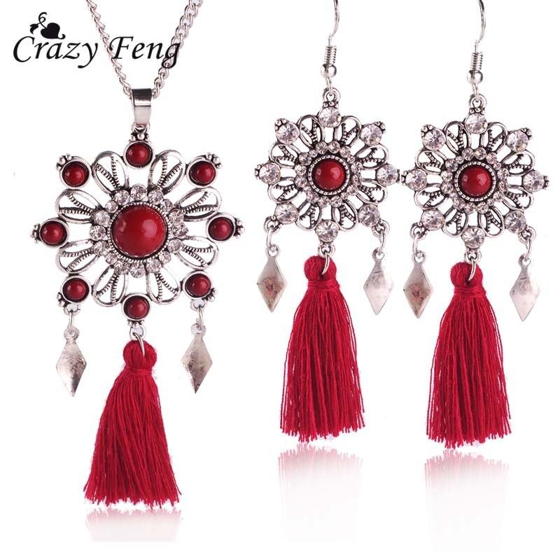 Fashion Bohemian Wedding Hollow Flower Drop Earrings Jewelry Set Earrings for Women Big Pendant Necklace Long Chain Silver Color