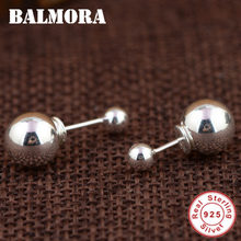 BALMORA High Quality 100% 925 Sterling Silver Double Ball Elegant Stud Earrings for Women Lover Fashion Silver Jewelry SY31515(China)