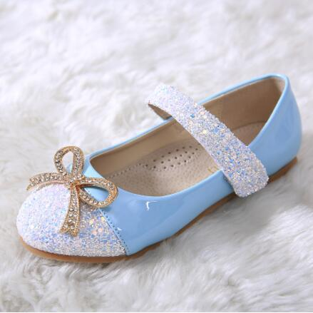 New Arrival Spring/Autumn Children Shoes Girls Fashion Rhinestone Bowtie Princess Leather Shoes Kids Student Dance Flats 02