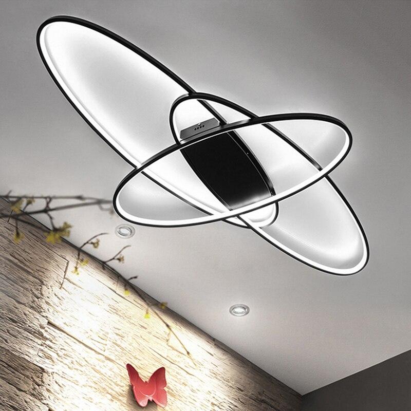 Blanc/Noir RC Dimmable Moderne Led Plafonniers Pour Le Salon Chambre Salle D'étude Maison Déco Plafond Lampe Appareils 110 v 220 v