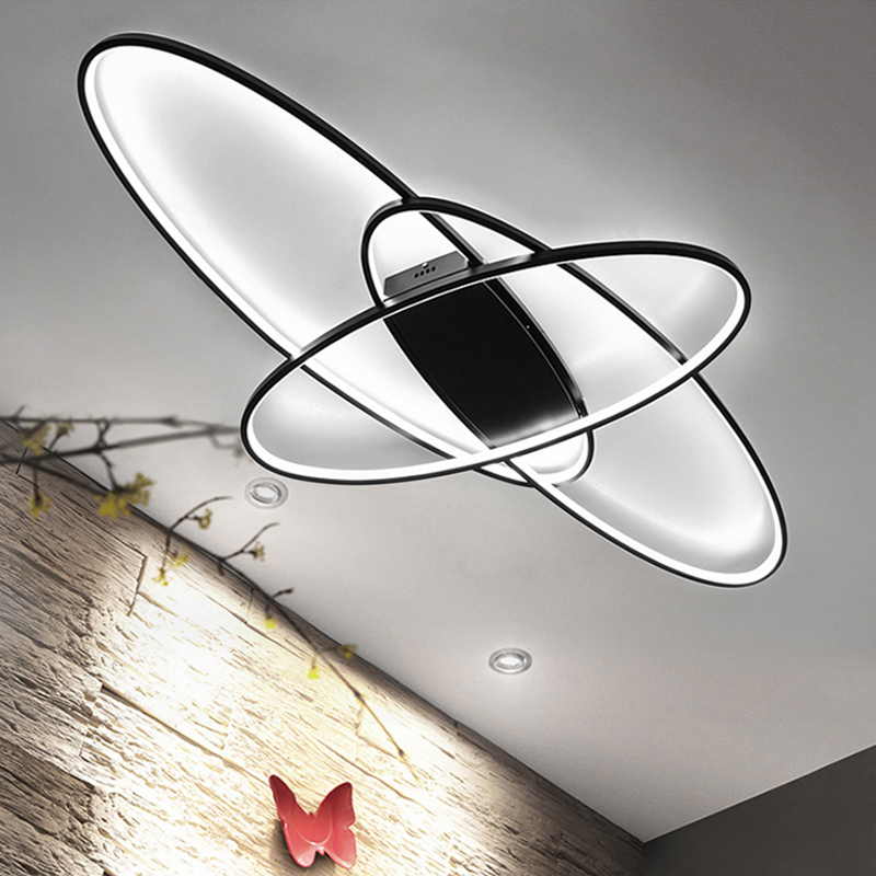 White/Black RC Dimmable Modern Led Ceiling Lights For Living Room Bedroom Study Room Home Deco Ceiling Lamp Fixtures 110V 220V modern metal led dimmable white black square lamp for bedroom corridor living room ceiling lamp