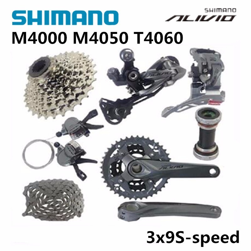 SHIMANO ALIVIO M4000 M4050 T4060 3x9S 27S speed MTB Bicycle groupset with hydraulic disc brake integrated tny180pn dip 7
