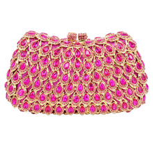 Sparkly Fashion Fuschia Evening Bag Mujer Cocktail Party Purse Pink Wedding Clutch Bag Ladies Pochette Clutches