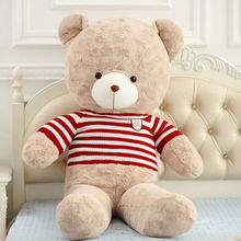 big plush round eyes red and white stripes sweater teddy bear toy huge bear doll gift about 160cm
