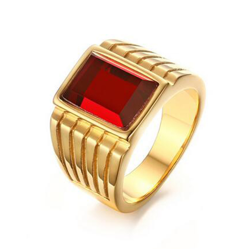 Male Stone Jewelry Gold Color Engagement Ring for Men Quality Red ...