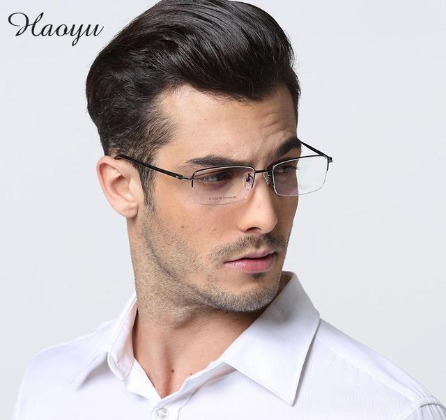 5f1e7b93c Haoyu masculino cara grande pure titanium metade óculos de armação oculos  de grau prescrição óptica óculos
