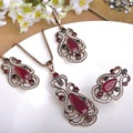 Vintage Crown Flower Pendant Necklace Green Acrylic Earrings Party Rings Women Jewelry Sets Turkish Bijuterias Love Accessories