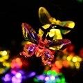 Lâmpadas solares 4.8 M/15.75FT 20 LEDs Coloridos Borboleta Guirlanda Decoração Do Feriado de Natal Do Jardim Ao Ar Livre Movido A Energia Solar Luzes LED