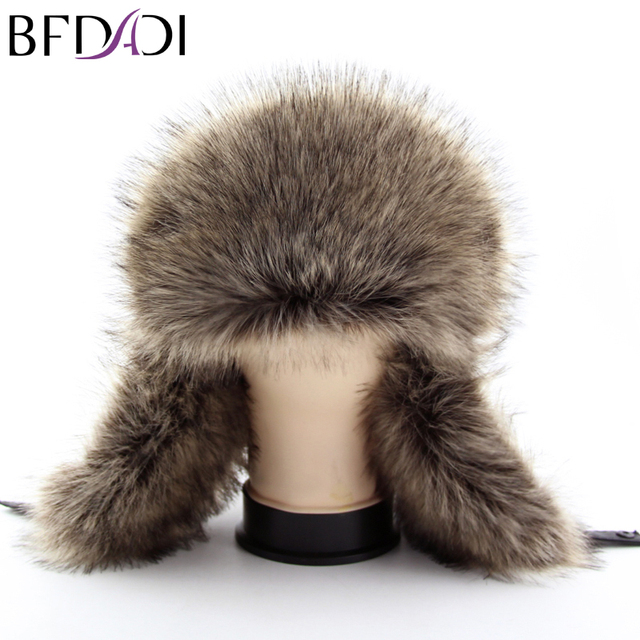BFDADI Hot Sale faux fur Ear Flaps Cap trapper snow ski snowboard warm winter aviator bomber hats caps women men Free Shipping