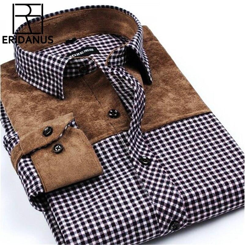 Лоскутное Для мужчин Рубашки для мальчиков социальных в клетку с длинными рукавами бренд Для мужчин модные щеткой фланель рубашка узкого кроя торжественное платье Рубашки для мальчиков сорочка x502