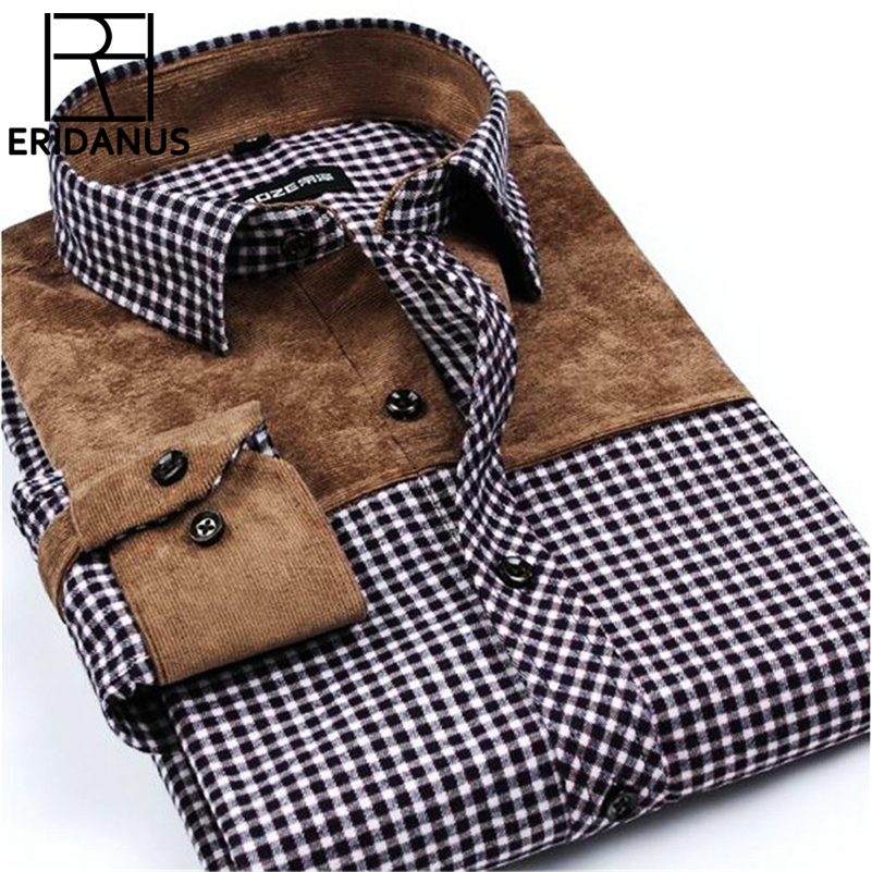 Patchwork férfiak ingek társadalmi hosszú ujjú kockás márka férfi divat csiszolt flanel Slim Fit ing hivatalos ruhák ing ing X502