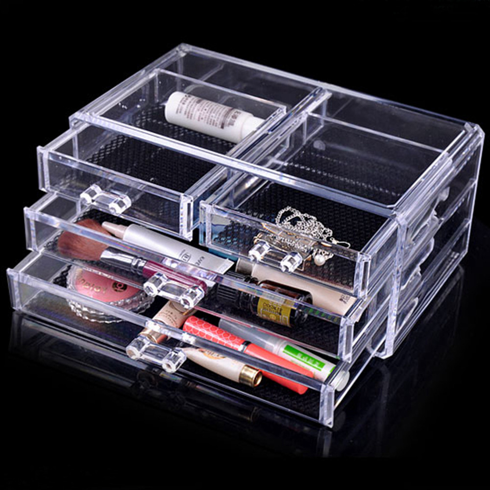 Transparent Plastic Drawer Type Makeup Cosmetic Organizer Crystal Acrylic  Jewelry Desktop Storage Box Special Christmas Gift Part 75