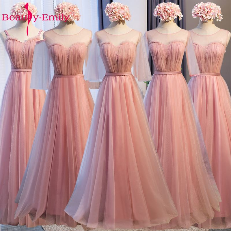 Beauty Emily Long Lace Bridesmaid Dresses 2019 Dark Pink A-Line Sleeveless Lace Up Off the Shoulder Wedding Party Dresses