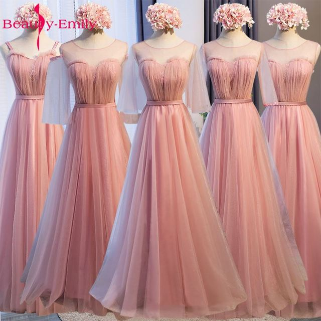 50beb9a0bf2 Beauty Emily Long Lace Bridesmaid Dresses 2019 Dark Pink A-Line Sleeveless  Lace Up Off the Shoulder Wedding Party Dresses